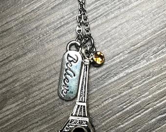 Paris Necklace / Eiffel Tower Necklace / Believe Necklace / Travel Necklace