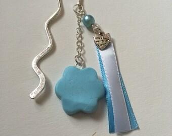 Pastel blue flower bookmark