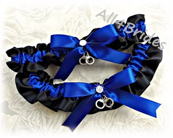 Thin blue line handcuff wedding garters, wedding bridal garter belt set, black and royal blue satin garters.