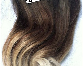High Contrast Neutral Ombre Clip In Extensions  | Silky Straight Natural Human Hair | 8 Pieces For a Full head | 120, 170, 220 & 270g Sets