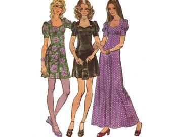 "Simplicity 9779, 70s sewing pattern, size 14 bust 36"" women's dress pattern, empire waist, sweetheart neckline, maxi dress"