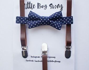 Dark Brown Leather Suspenders and Navy Polka Dot Bowtie, Boys Suits, Rustic Wedding, Ring Bearer Outfit, Boys Bow Tie, Kids Suspenders, Boys