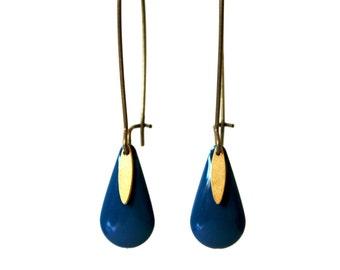 Blue enameled sequin earrings