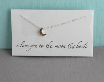 Sterling silver crescent moon necklace / I love you to the moon and back / 3d moon necklace