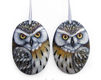 Pair of Eagle Owl Earrings | Hand Painted Jewels