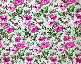 Pink floral fabric by the yard by Rhapsody for SSI / Flower print