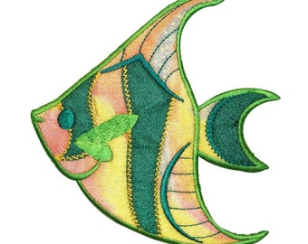 ID 0247 Tropical Angel Fish Patch Swimming Shiny Ocean Iron On Applique