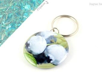 Blueberry Keychain - Glitter Keychain - Blue Sparkles - Blueberries - Berry Keychain - Light Blue - Pale Blue - Blueberry Glitter Key Chain