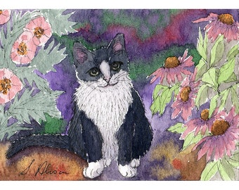 Original tuxedo cat mini art ACEO ATC - a Susan Alison watercolour painting black and white hiding in the garden coneflowers miniature
