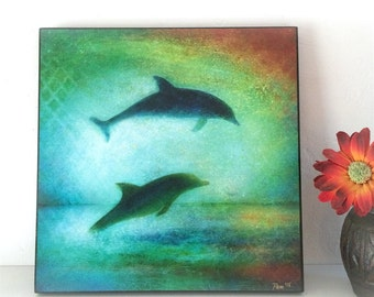 "Dolphin Art Wall Decor Wood Mounted Archival Print of Original Mixed Media Art, Hand-Painted Details and Finish--""Dolphins""--Pam Kapchinske"