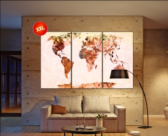 World map yellow brown  print on canvas wall art LargeWorld map yellow brown print art artwork large world map Print home office decoration
