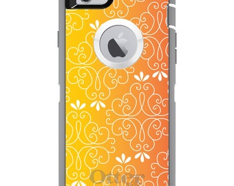 Floral Gradient OtterBox Defender / Apple iPhone OR Samsung Galaxy / Orange Yellow / Custom Personalized Monogrammed / Any Color / Any Font