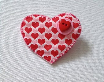 Handmade Fabric Heart Pin, Fabric Pin, Fabric Jewelry, Valentines Day, Handcrafted Jewelry, Textile Jewelry