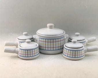 Vintage Large Bean Pot With Matching Bowls