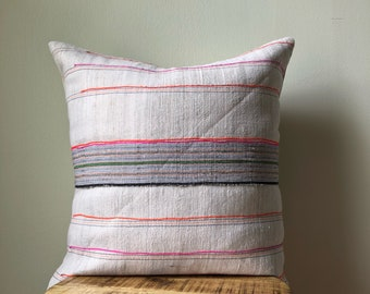Natural 22 x 22 Hamong Embroidered Tribal Pillow Cover - Hand made in the hills of the Hmong Tribe - Natural Sand with Pink, orange