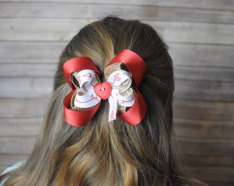 """Hair bows for girls Holiday - Heart hair bow - 4"""" hair bows for girls - best hair bows for girls - holiday hair bows for girls"""