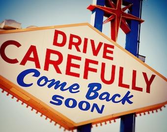 Las Vegas Sign Print | Come Back Soon | Googie Art | Neon Sign Print | Las Vegas Wall Art | Welcome to Las Vegas | Mid Century Wall Art