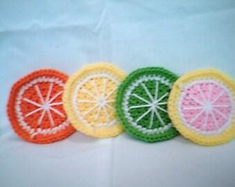 Citrus Fruit Crocheted Coaster Set