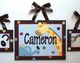 Jungle Nursery Art, Art for Boys room, Canvas name sign, Nursery wall art, Personalized, Hand Painted, Monogram wall art, Safari nursery