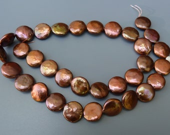 Dark Copper Coin Pearls, Copper Freshwater Pearls, Copper 12mm Coin Pearls, 12mm Copper Coin Pearls, 12mm Pearls, 1 Strand