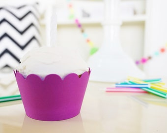 MAGENTA Cupcake Wrappers - Set of 24