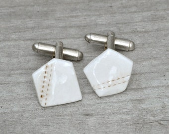 Pentagon Porcelain Cufflinks In Ivory And Brown, Only One Pair Is Available Handmade In The UK