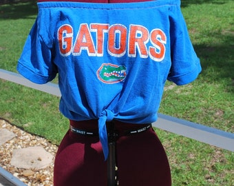 University of Florida Gators Shirt  Upcycled Off Shoulder Cropped with tie Waist, One Shoulder Size M-L