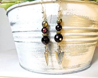 Garnet / pyrite / hematite squares w/ arrowhead charms and silver earring hooks