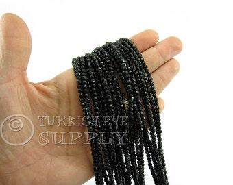 Jade Beads, 3mm Round Faceted Black Jade Bead Strands, One 1 Full Strand Semiprecious Gemstone Beads, Loose Beads