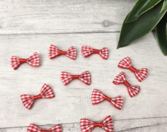 Red gingham bows, mini bows, christmas bows,  Christmas bows for gifts, Christmas crafting, card making, festive bow, red bow decoration