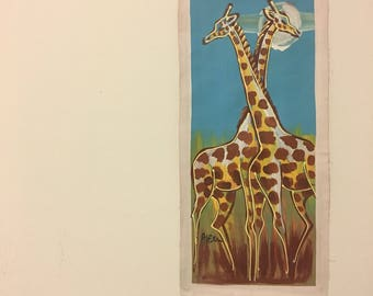 Giraffes in Love African Canvas Painting