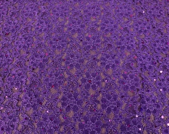 """56"""" Wide 0 Stretch Purple Lace w/ Holo Sequin Dot Fabric Sold By the Yard - Free Shipping"""