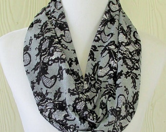Short Infinity Scarf, Women's Chiffon Scarf, Black Lace Motif, Circle Scarf, Loop Scarf, Women's Fashion, Eclectasie