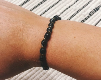 Black Paper Bead Bracelet (Single Strand)