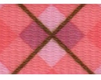 1 Inch Pink and Brown Argyle Polyester Webbing Martingale Collar