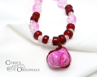 Fuchsia Crazy Lace wire wrapped stone necklace - ON SALE!!!