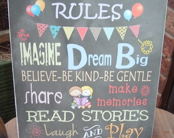 shabby chic Playroom rules sign plaque nursery childrens play room