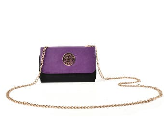 purple clutch bag with chain strap