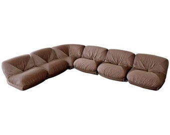 Mid Century Modern Airborne Patate 6 Piece Sectional Sofa 70s Velvet French