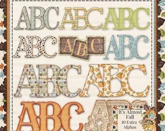 On Sale 50% It's Almost Fall Digitla Scrapbooking Kit Alphabets