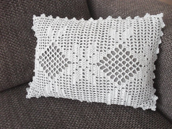 Crochet Pattern Very Romantic Cushion Cover,filet crochet, Instant ...