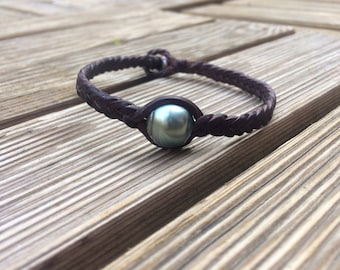 Tahitian pearl bracelet, tahitian pearl and leather bracelet for man