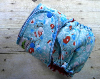 Winter Mittens One Size Hybrid Fitted Diaper {Serged}