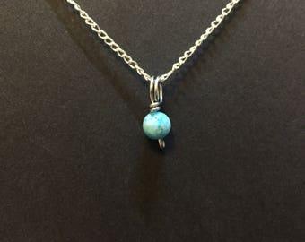 Tiny Hemimorphite Charm Necklace