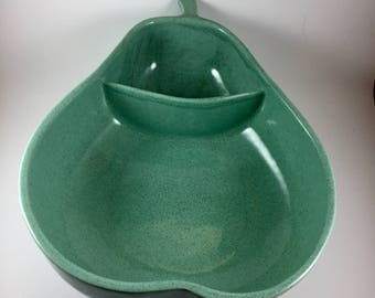 Vintage, Mid Century, Keystone Pottery, Pear Shaped Divided Serving Bowl, Seafoam Green
