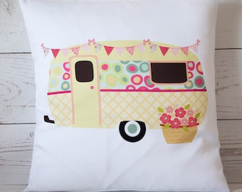 "Yellow Caravan  - 16"" Cushion Pillow Cover Retro Shabby Vintage Chic - UK Handmade"