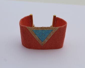 Salmon Peyote beadwoven Cuff Bracelet, Turquoise and gold