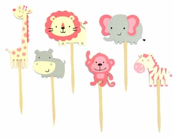 Girl Jungle Animal Cupcake Toppers Set of 12 / Girl Safari Animal Cupcake Toppers  Pink Jungle Animal Cupcake Toppers Monkey Cupcake Toppers