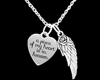 Angel Necklace, A Piece Of My Heart Is In Heaven Necklace, Heart Remembrance Memorial Angel Wing, Sympathy Gift,  Charm Necklace