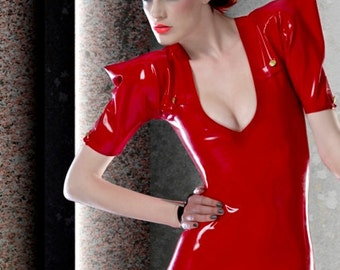 Latex Rubber Army dress with buttons in Red Lingerie
